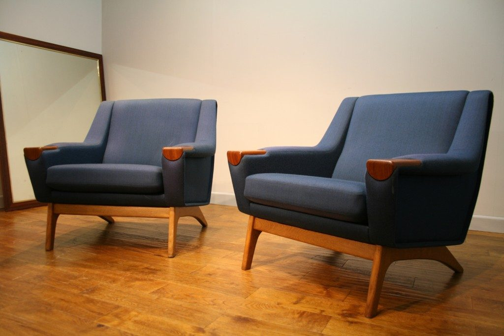 Stylish Danish Sofa and a Pair of Matching Armchairs ...