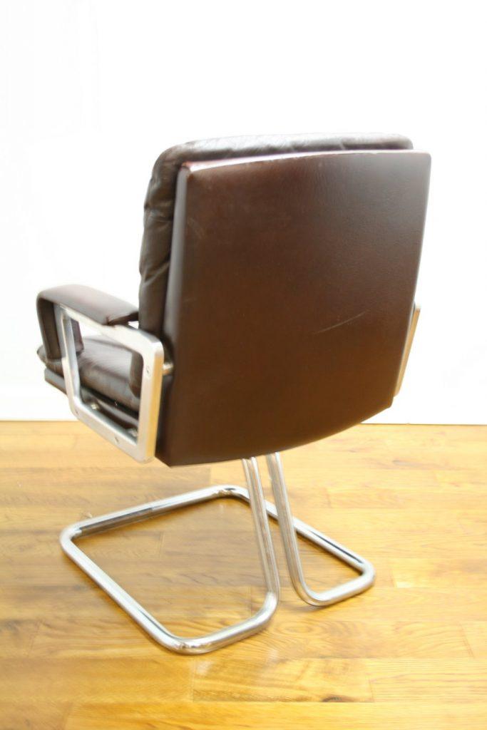 2 British Comfortable 60s Buffalo Leather Desk Chairs
