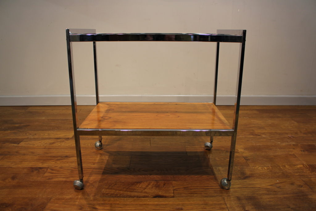 1970s Howard Miller Teak Chrome Drinks Trolley Vintage