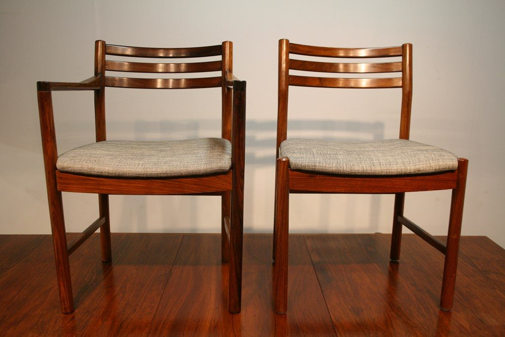 60s White And Newton Rosewood Dining Table And Chairs