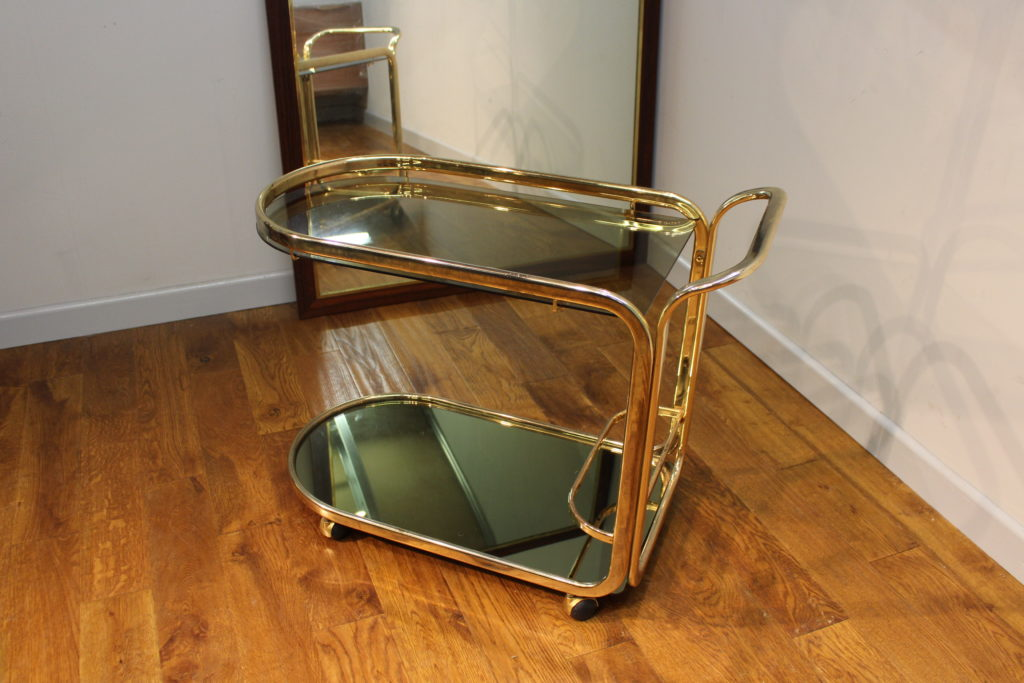 Vintage 1970s Brass And Glass Cocktail Trolley Vintage Retro