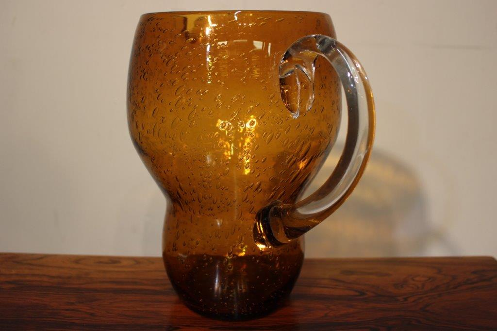Mid Century Amber Coloured Glass Jug Vintage Retro