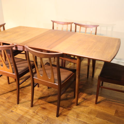 G Plan 1960s teak Brasilia dining table and 6 chairs ...